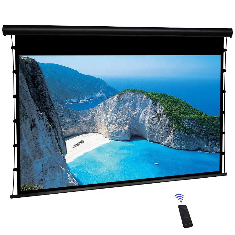 "150"" projector screen/large indoor projection screens/Boutique cable electric screen"
