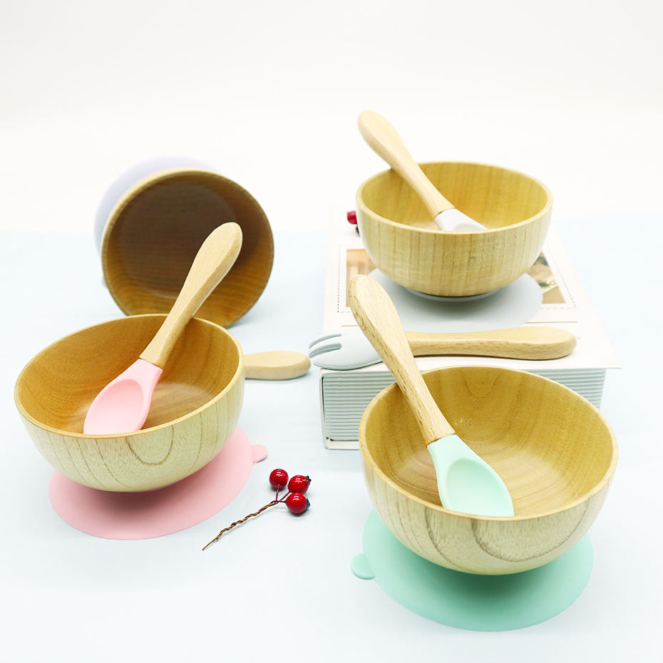Eco-friendly Wooden Baby Bowl with Suction Base Custom Stay Put Suction Baby Feeding Bowl With Spoon/Folk Set Bamboo baby Bowl