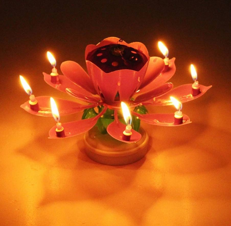 Flower rotating birthday party music candles