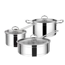 Multifunction hot sale soup pot durable high-quality stainless steel three-piece stock cooking pots
