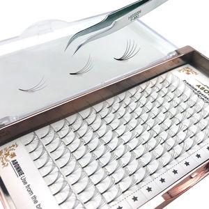 Korean fiber premade volume fans short stem 3D 4D 5D pre fan eyelash extensions bulk CD curl premade volume fans eyelashes