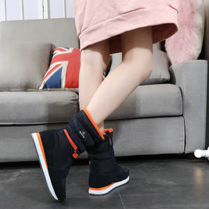 Fabric cold weather boot women warm shoes Jiangsu factory to produce quality control good production full space