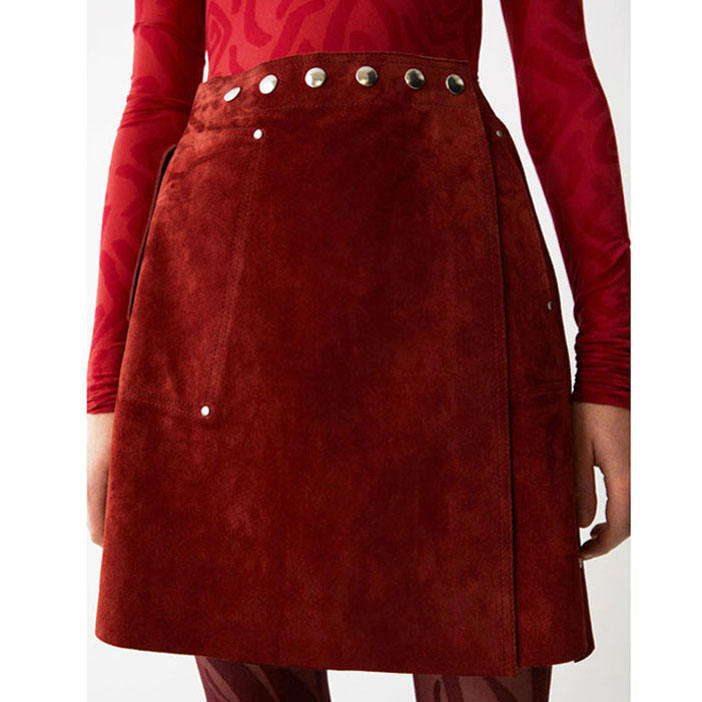 Custom Elegant red / Black Women Leather Skirt high Waist Button Up Leather mini Skirt