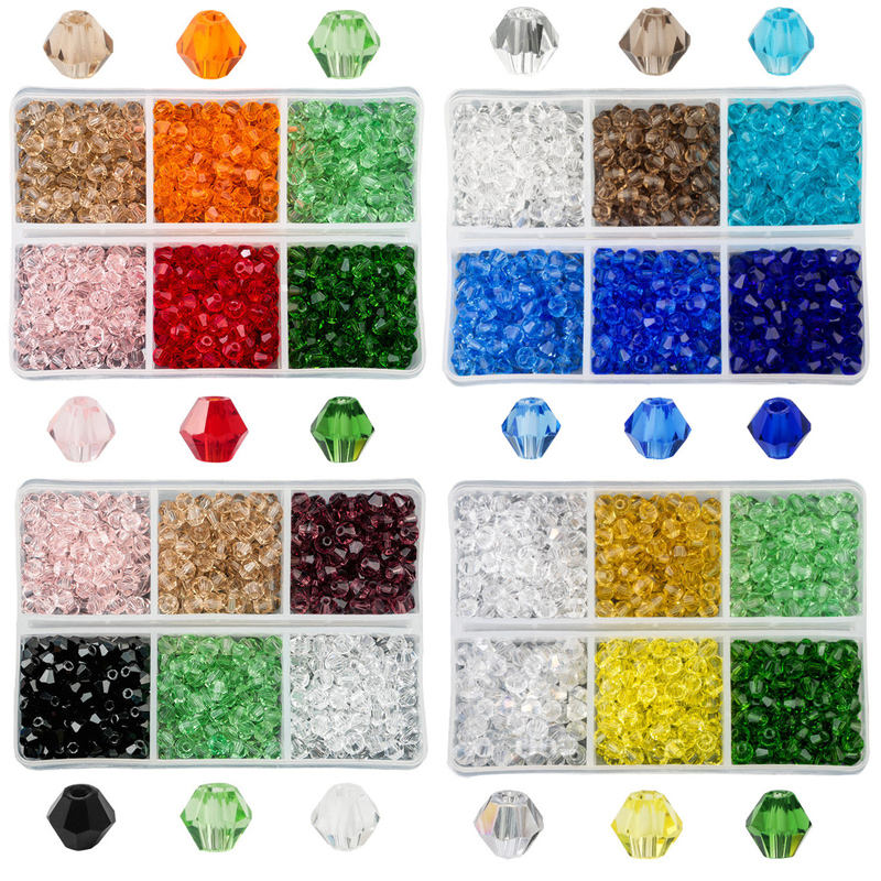 Grade A 600pcs/box 4mm Glass Bicone Crystal Beads Faceted Austria 5328 Bicone Bead for Jewelry Making Decorations