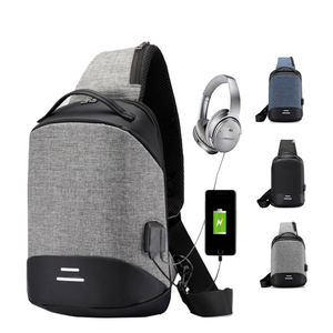 Mode Borst Bag Pack Hasp Open Canvas Sling Bag Mannen Usb Interface Luxe Crossbody Tas Mannen