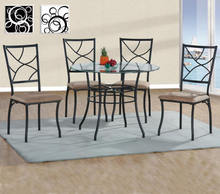 Vintage dining table set metal glass top round table chairs sets wholesale