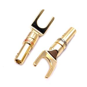 Nakamichi Banana Plug Gold Plated Copper U Y-Type Spade Male Plugs Adapter Audio Speaker Cable Connectors