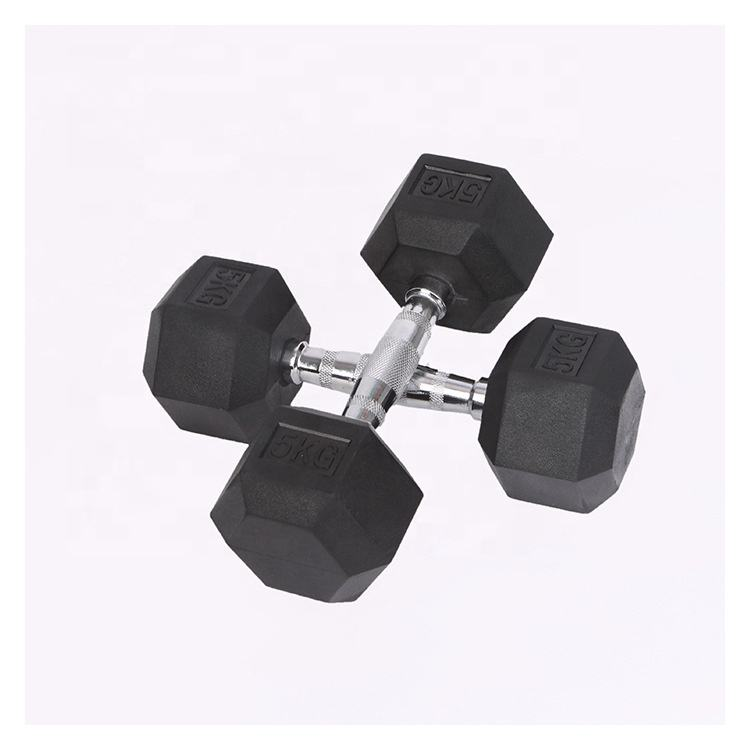 Fitness Gym Basic Equipment Rubber Coated Hex Dumbbell For sale