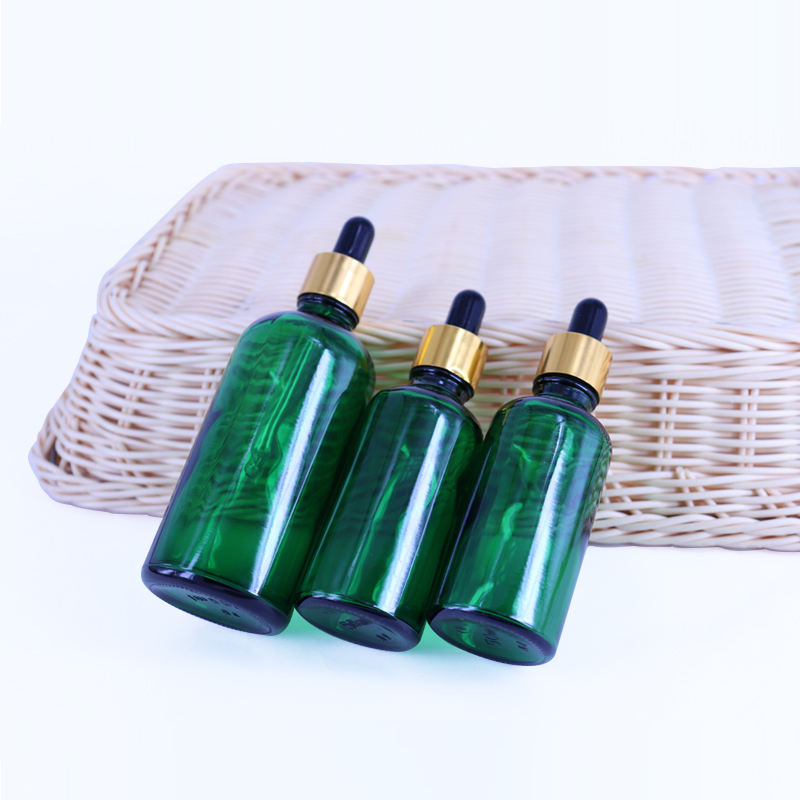 Stock Product Empty 30ml Green Glass Dropper Bottle Rose Gold Cap Essential Oil Serum Bottle Container