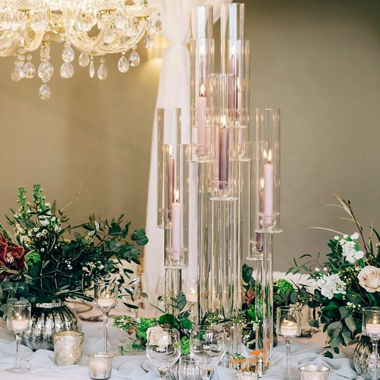 Table top decoration centerpieces glass tube candle holder 10 arms tall cheap crystal wedding candelabra with lampshade for sale