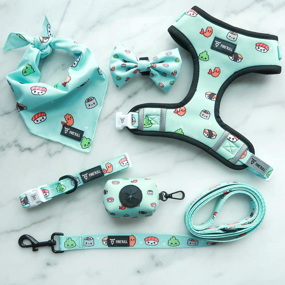 Custom Reversible Tactical Soft Pet No Pull Adjustable 6 Pieces Dog Harness /Leash Garbage bags/bows/ scarves Set