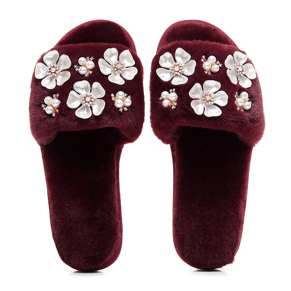 Fashionable Design Multi plush Fur home Slippers with diamond flowers shoes for Girls pearl faux Rex Rabbit Fur Flower Slides