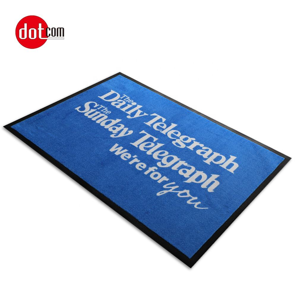 Dotcom customizable rubber backing outdoor logo printed nylon door mat
