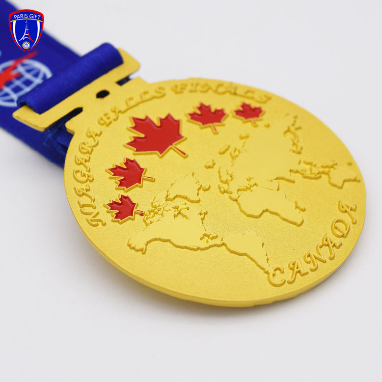 Canada Gold map design medal with Maple leaf