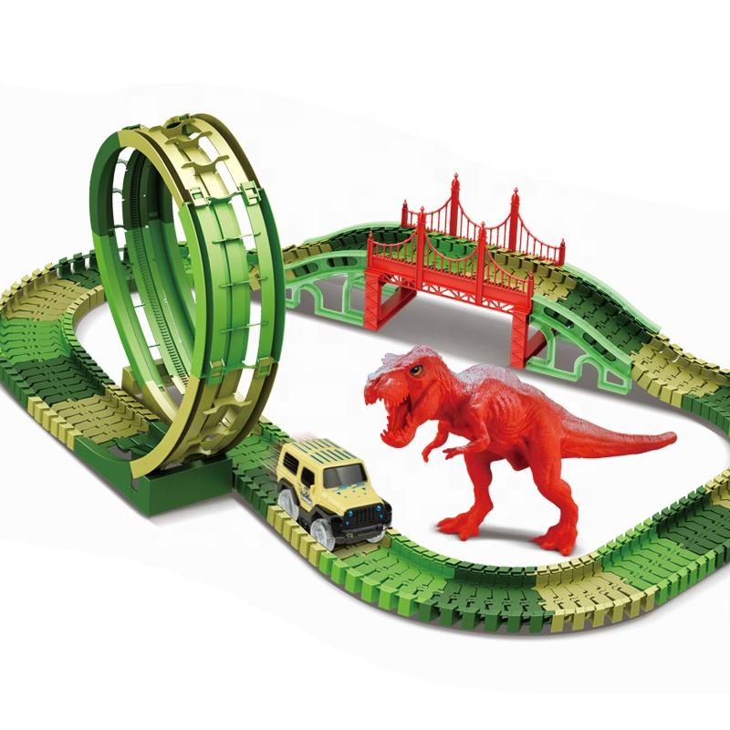 kids educational toys dinosaur slot race game luminous rail car with b/o