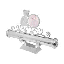 Silver baby christening birth certificate scroll holder with cute bear round photo frame personalized stand can laser any logo