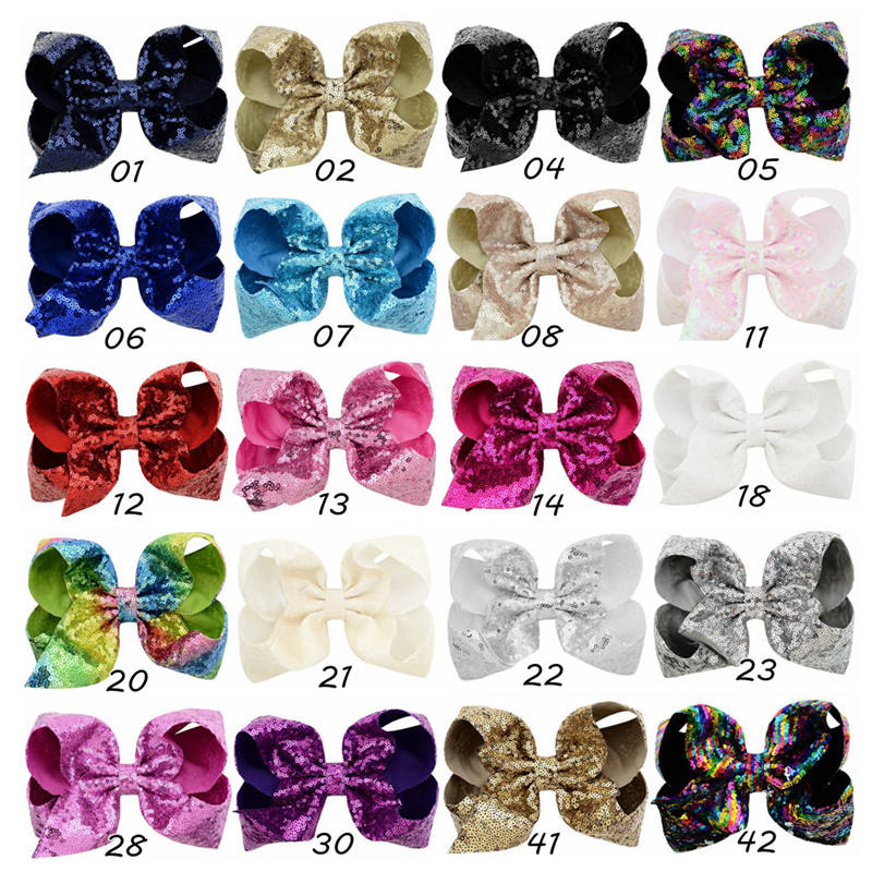 Baby Girls Sequin Bows 8 inches Sparkly Glitter Hair Bows with Alligator Hair Clips