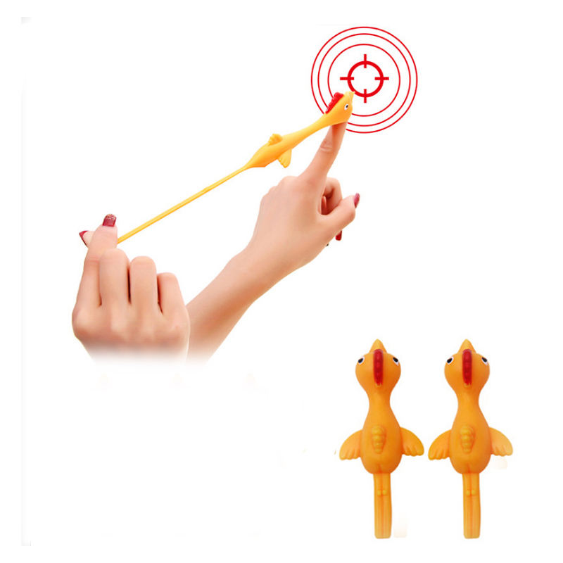Hot Sale TPR Sticky Flying Turkey Catapult Soft Finger Stretchy Chicken Slingshot Capsule Toys For Child