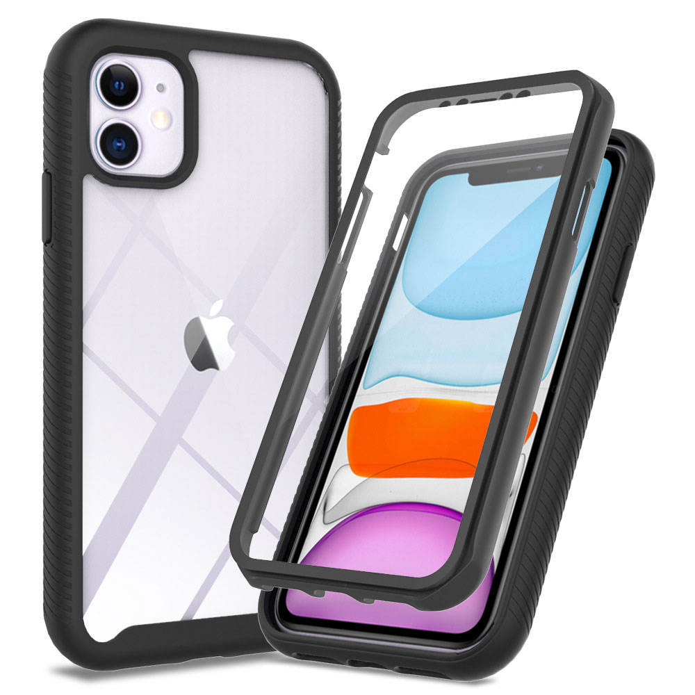 Tough Defender Phone Case For iPhone 11 12 TPU PC 2 in 1 Hybrid Transparent Hard Clear Shockproof Cover 360 Protection