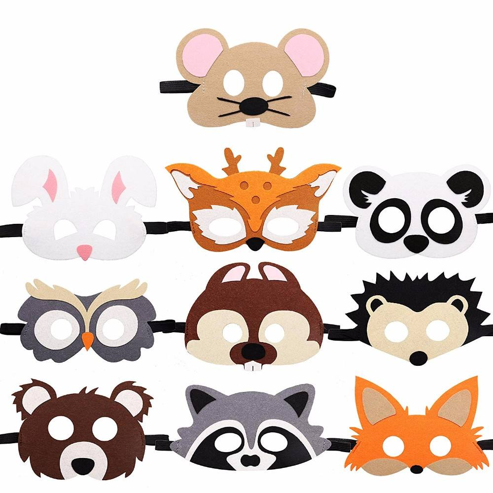 Jungle Animal Felt Masks Kids Costumes Dress-Up Party Supplies for Halloween Christmas Party Mask