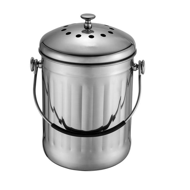 Brilliant Steel 5 Litre Stainless Steel Compost Bin for Kitchen Countertop