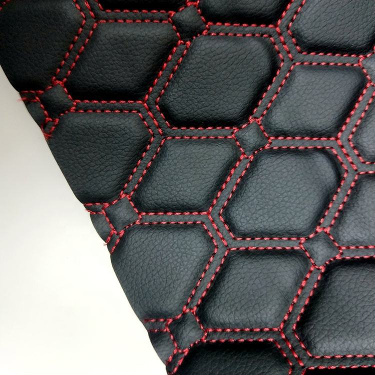 Different sponge thickness and stitch design PVC leather quilted fabric for car seat cover