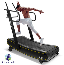 a commercial use non-motorized manual self-powered body strong air runner home fitness woodway curved treadmill in gym equipment