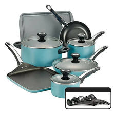 Long-lasting nonstick 14 Piece aluminum cookware set