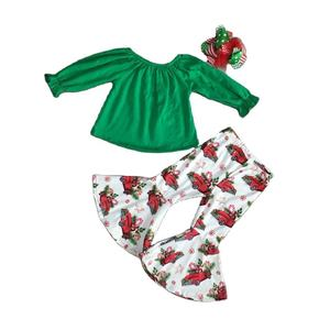 baby Girl clothes girls christmas outfits solid green top with gifts car bell bottom pants girls boutique clothes