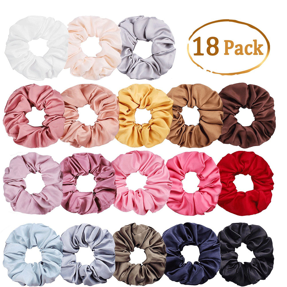 Wholesale Fashion Women Hair Accessories Fabric Solid Colors Elastic Hair Ties Satin Hair Scrunchies.