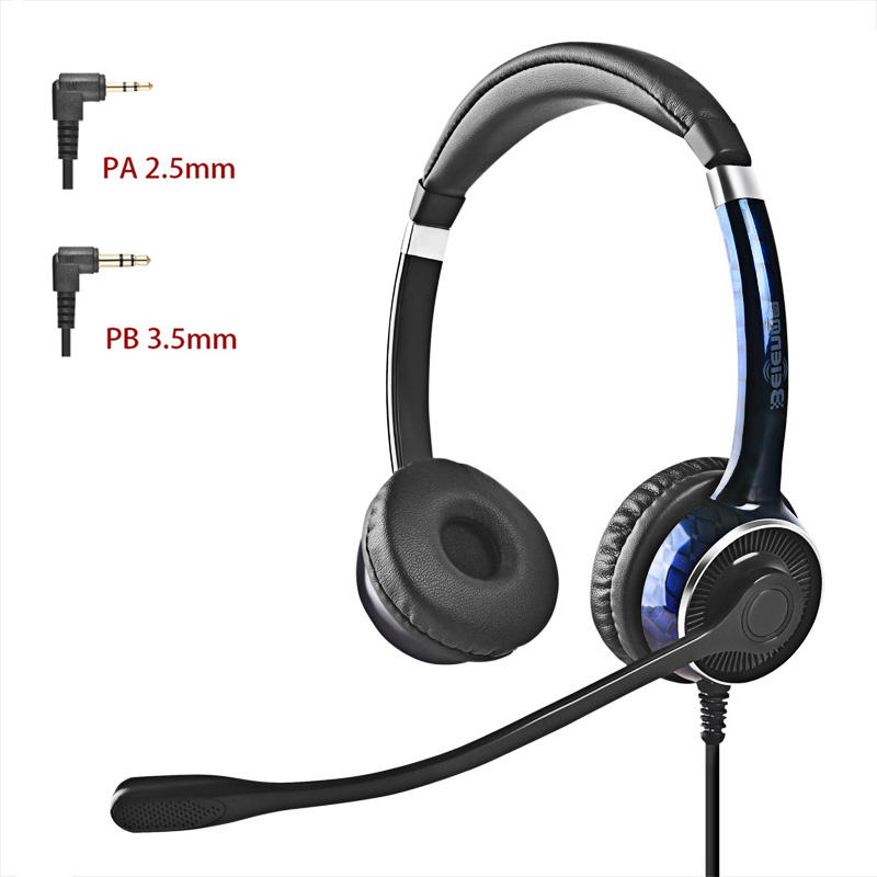 Beien Plug and Play noise cancelling binaural 2.5/3.5mm wired headphone with volume control for call center telephone