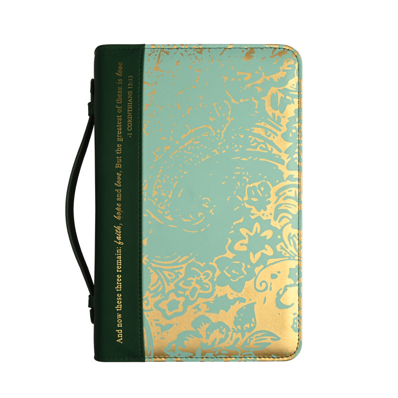 Hot Sale New Popular Green Gold Foil Stamp PU Leather Bible Cover Bag with zipper and handle