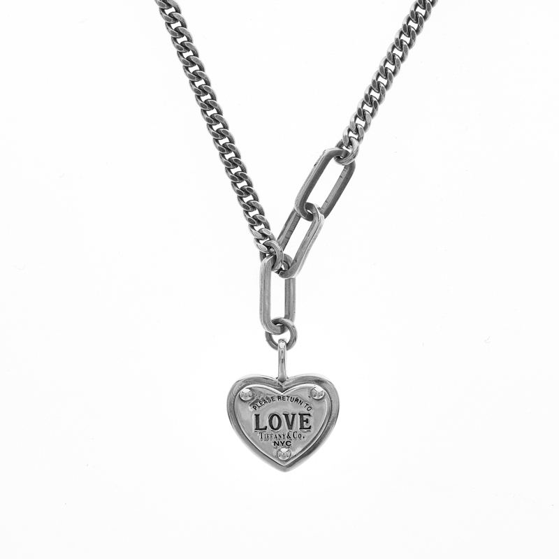 Trendy Jewelry Vintage Punk Heart Love letter pendant Antique Silver Plated 925 silver necklaces
