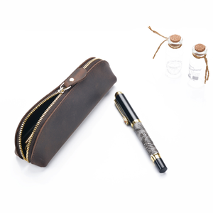 Retro style mini good quality crazy horse genuine leather pen case pen sleeve leather pencil pouch