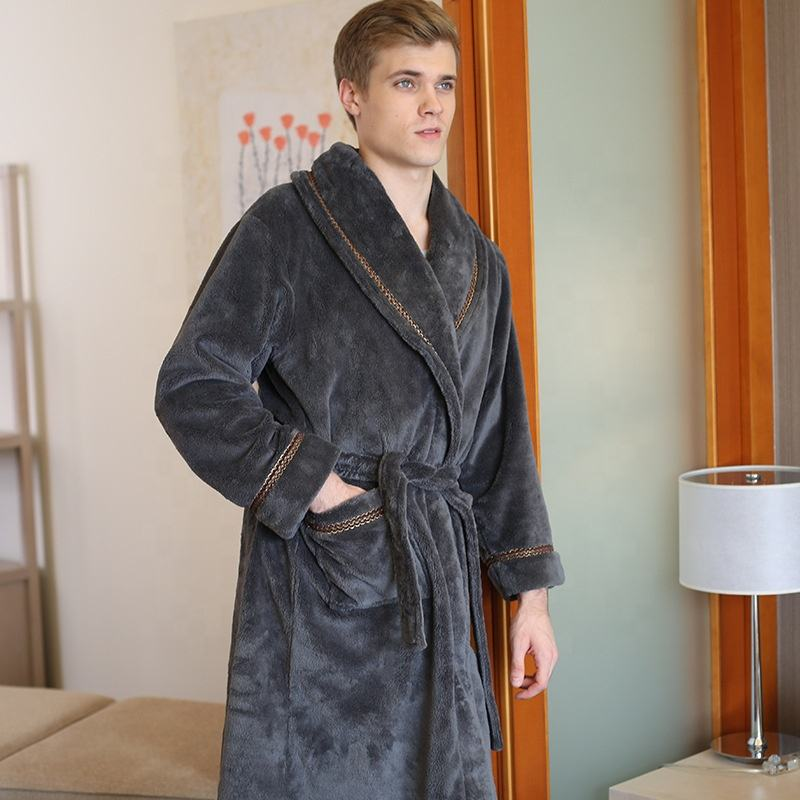 Men nice flannel colorful fleece bathrobe with cheap prices