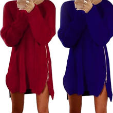 Women Winter Long Sleeve Zip Jumper Tops Knitted Sweater Loose Tunic Dresses