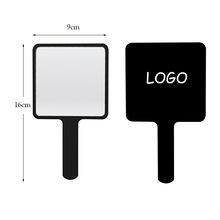Private Label Customized Logo ABS Plastic Small Compact Handheld Square Custom Cosmetic Hand Mirrors for Women
