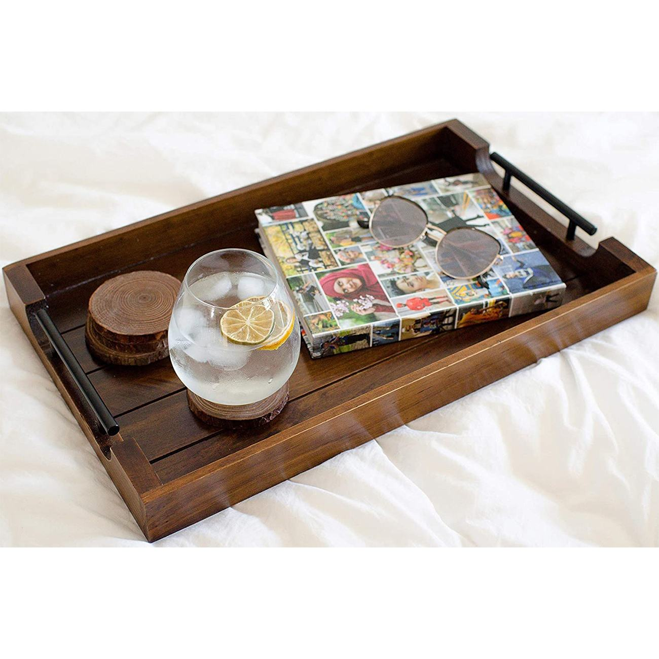 Wooden Rustic Tray for Ottoman Coffee Table Decor Serving Kitchen Tray with Metal Handles Farmhouse Trays With 4 Coaster