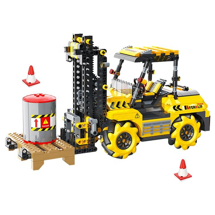 Mainan Forklift Remote Control <span class=keywords><strong>Ponsel</strong></span>, <span class=keywords><strong>Blok</strong></span> Bangunan Pemrograman 736 Buah