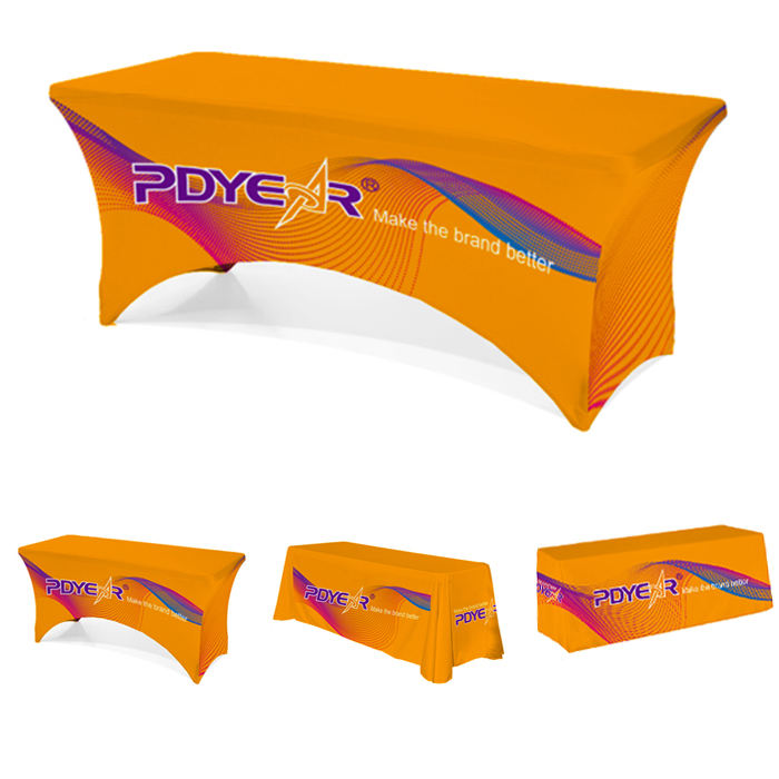 4ft 5ft 6ft 8ft custom print stretch table cover fitted draped logo trade show tablecloths throw runner table cloths