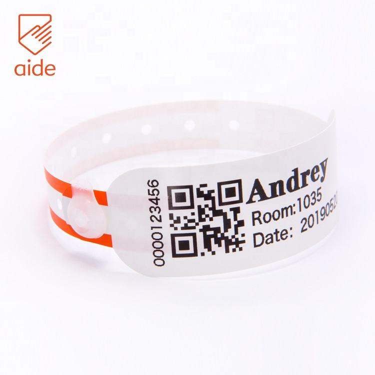 Eco Friendly One-Time Use Waterproof Personalized Hospital Medical Id Barcode Bracelets For Adult