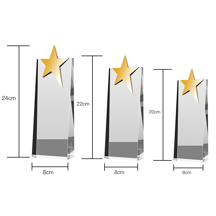 MH-NJ00353 Souvenir Gift Custom Crystal Glass Trophy With Metal Star Glass Trophy Awards