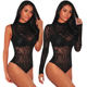 2020 New Design Sexy Women Mesh Velvet Rompers Turtleneck Long Sleeve Bodysuits For Women