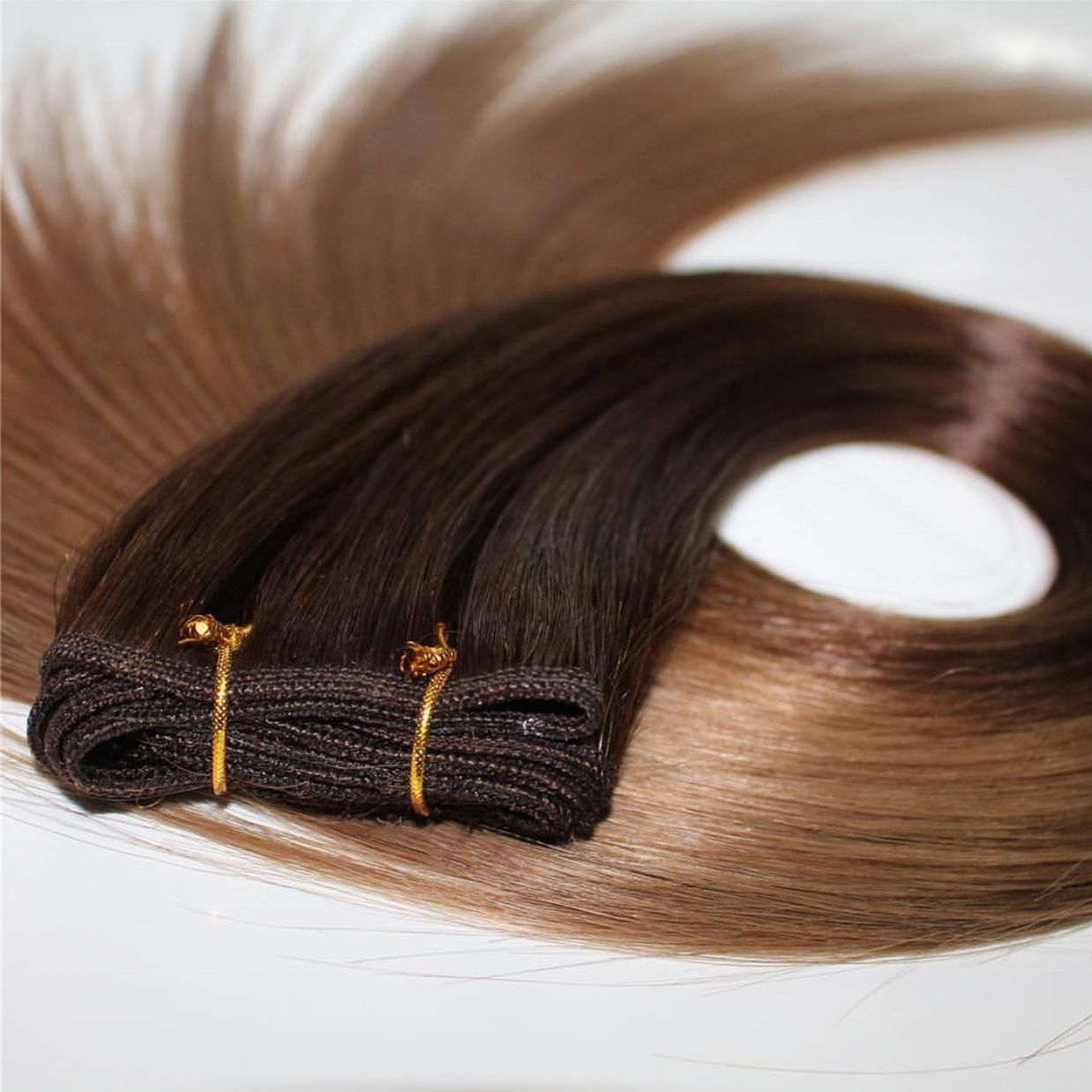 Grade 12a double drawn human hair extensions remy virgin ombre weft hair