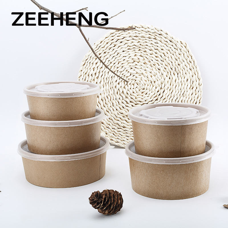 Microwave safe disposable food kraft paper bowls with lids for take away