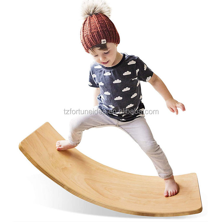 Wooden swing balance board, children's open learning toys, yoga bending board for classroom and office adults