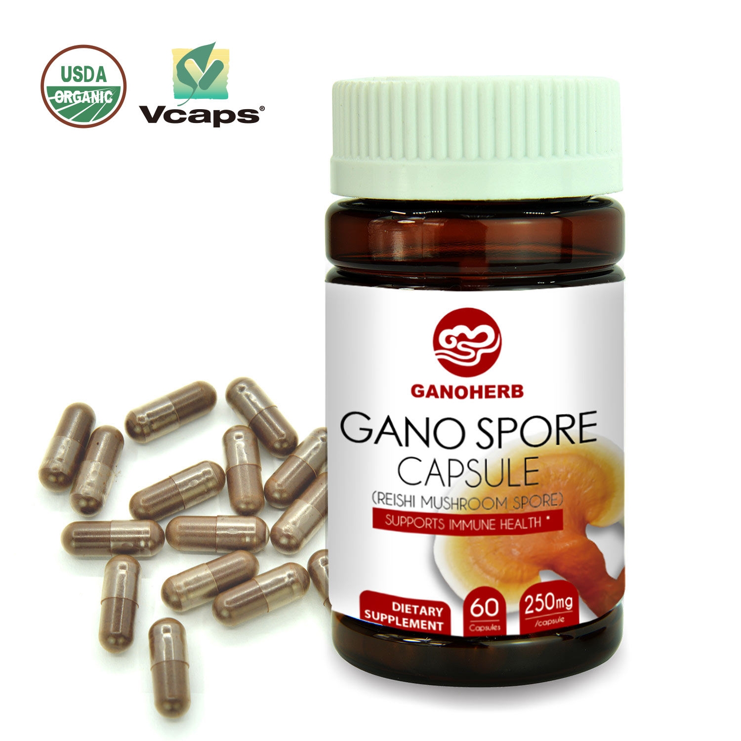 Herbal Supplement Ganoherb Immuniteit Booster Biologische Ganoderma Lucidum Capsules