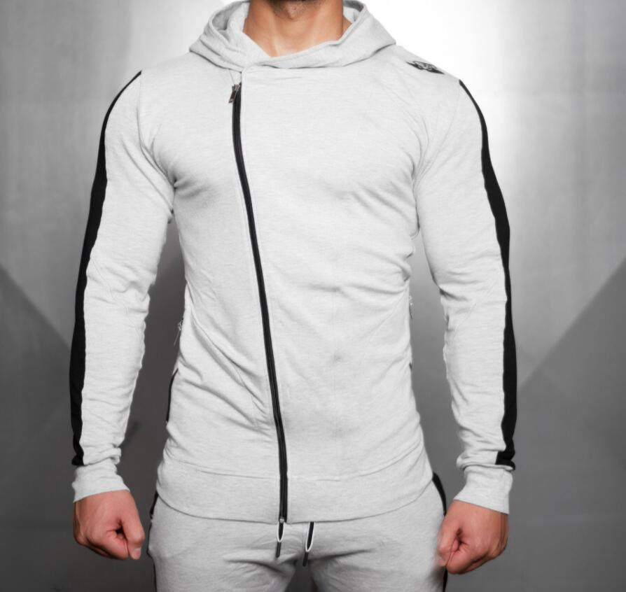 Sport Mens Fitness Cotton Hoodie Jogger Zipper Sweater For Gym Workout Wear