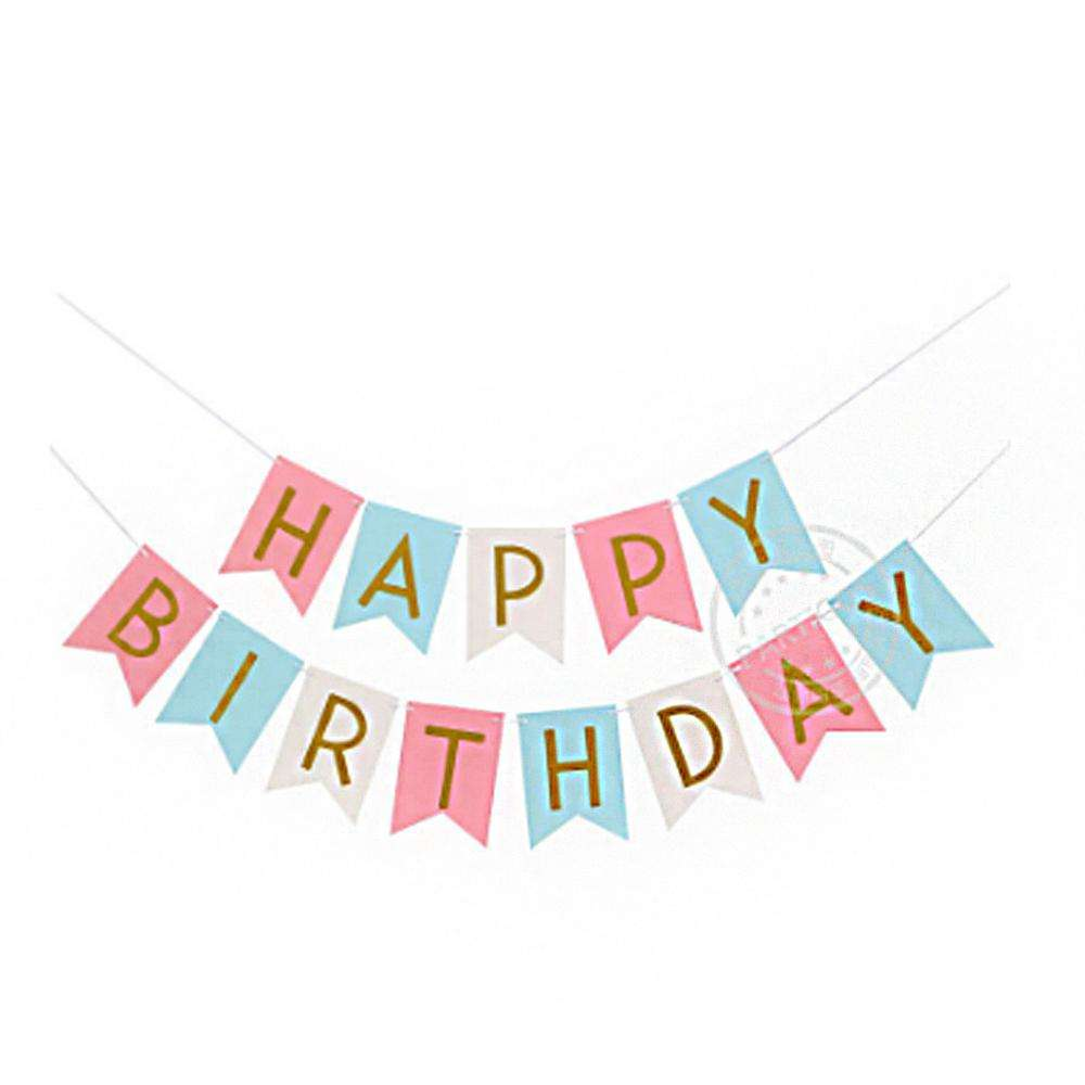 Paper Happy Birthday Banner Party Decorations Children Boy Girl Child Bunting Adult Favors Supplies
