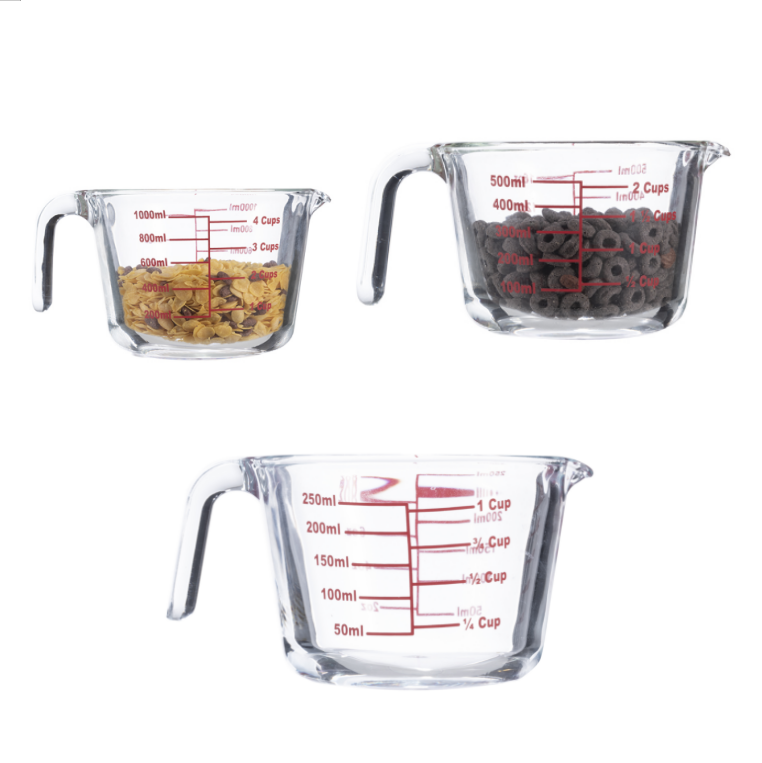 High borosilicate 3 piece glass measuring cup set